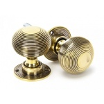 Aged Brass Beehive Mortice/Rim Knob Set