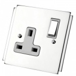 Art Deco Polished Chrome Plug Sockets