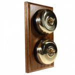 2 Gang 2 Way Asbury Medium Oak Wood, Polished Brass Dome Period Switch