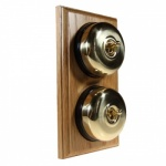 2 Gang 2 Way Asbury Light Oak Wood, Polished Brass Dome Period Switch