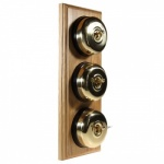 3 Gang 2 Way Asbury Light Oak Wood, Polished Brass Dome Period Switch