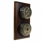 2 Gang 2 Way Asbury Dark Oak Wood, Fluted Dome Period Switch