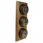 3 Gang 2 Way Asbury Light Oak Wood, Fluted Dome Period Switch