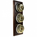 3 Gang 2 Way Asbury Dark Oak Wood, Polished Brass Fluted Dome Period Switch