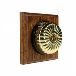 1 Gang 2 Way Asbury Medium Oak Wood, Polished Brass Fluted Dome Period Switch