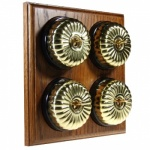 4 Gang 2 Way Asbury Medium Oak Wood, Polished Brass Fluted Dome Period Switch