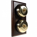 2 Gang 2 Way Asbury Dark Oak Wood, Polished Brass Dome Period Switch