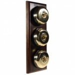 3 Gang 2 Way Asbury Dark Oak Wood, Polished Brass Dome Period Switch