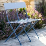 Folding Bistro Bench in Dorset Blue