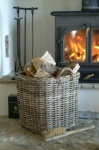 Large Square Log Basket in Rattan