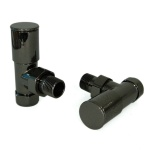 Milan Angled Black Nickel Radiator Valves (Pair)