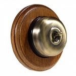 1 Gang 2 Way  Medium Oak Wood, Dome Period Switch