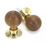 Rosewood & Polished Brass Beehive Mortice/Rim Knob Set