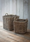 Set of 2 Square Rattan Log Basket