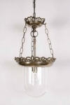 Small Storm Brass Pendant Light With Glass Shade