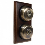 2 Gang 2 Way Dark Oak Wood, Smooth Dome Period Switch