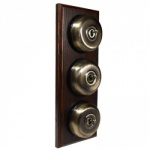 3 Gang 2 Way Asbury Dark Oak Wood, Smooth Dome Period Switch