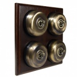 4 Gang 2 Way Asbury Dark Oak Wood, Smooth Dome Period Switch