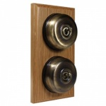 2 Gang 2 Way Light Oak Wood, Smooth Dome Period Switch