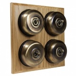 4 Gang 2 Way Asbury Light Oak Wood, Smooth Dome Period Switch