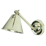 Map Room Single Adjustable Wall Light - Polished Nickel