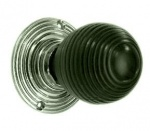 Solid Ebonised Oval Beehive Door Knobs Nickel