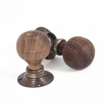Rosewood Mortice/Rim Beehive Knob Set - Antique Brass Roses