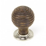 Rosewood & Polished Nickel Beehive Cabinet Knob - Small