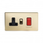 The Savoy Collection Satin Brass Period 45A Cooker Control With Socket With Black Insert