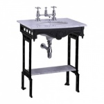 Carrera marble top & basin with black aluminium washstand