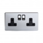 The Finsbury Collection Bright Chrome Luxury 2 Gang Double Pole Socket Black Insert 13A - Bright Chrome - Sockets & Switches