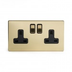 The Savoy Collection Satin Brass Period 2 Gang Double Pole Socket With Black Insert