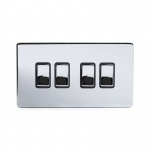 The Finsbury Collection Bright Chrome Luxury 10A 4 Gang 2 Way Switch With Black Insert