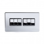 The Finsbury Collection Bright Chrome Luxury 10A 6 Gang 2 Way Switch With Black Insert