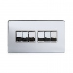 The Finsbury Collection Bright Chrome Luxury 10A 6 Gang 2 Way Switch With White Insert