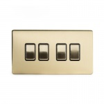 The Savoy Collection Satin Brass Period 10A 4 Gang 2 Way Switch With Black Insert