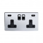 The Finsbury Collection Bright Chrome Luxury 2 Gang Double USB Socket with Black Insert - Bright Chrome - Sockets & Switches