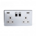 The Finsbury Collection Bright Chrome Luxury 2 Gang Double USB Socket with White Insert - Bright Chrome - Sockets & Switches