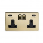 The Savoy Collection Satin Brass Period 2 Gang USB Socket With Black Insert