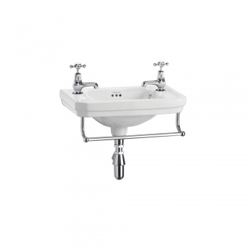 Victorian 51cm cloakroom basin with towel rail