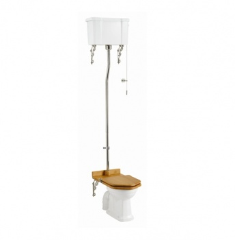 High-level pan with high-level white ceramic cistern and high-level flush pipe kit