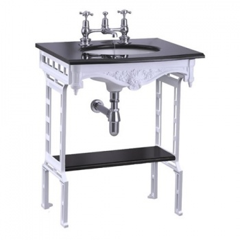 Black granite top & basin with white aluminium washstand