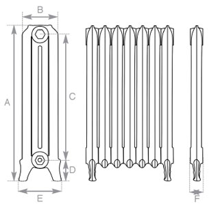 Rococo Cast Iron Radiator 660mm Single Column Spec
