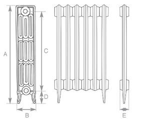 Victorian 4 Cast Iron Radiator 460mm Spec