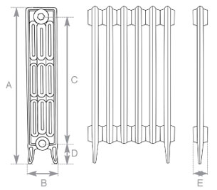Victorian 6 Cast Iron Radiator 625mm Spec