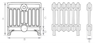 Victorian 9 Cast Iron Radiator 330mm Spec